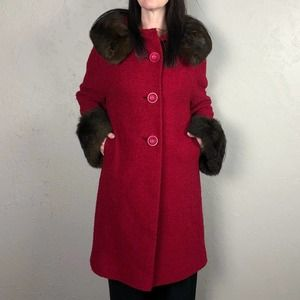 Vintage 1960s Red Wool Coat with Faux Fur Trim